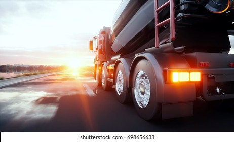 Concrete mixer truck on highway. Very fast driving. Building and transport concept. 3d rendering