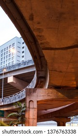 concrete overpasses in city, low angle