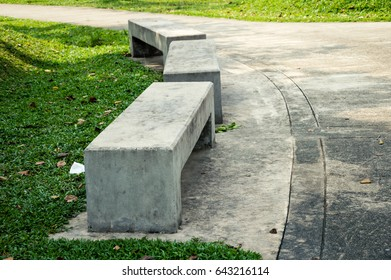 concrete park bench