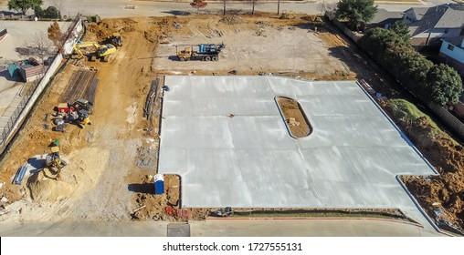Concrete parking lot on construction site