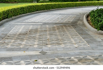Concrete pathway with green trimmed bush hedge in the park