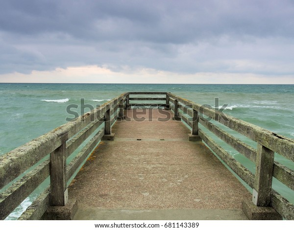 Concrete Pier On Omaha Beach Normandy Stock Photo (Edit Now