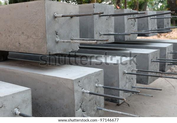 Concrete pillar.Construction for building.