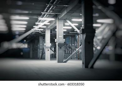 concrete pillars in an building