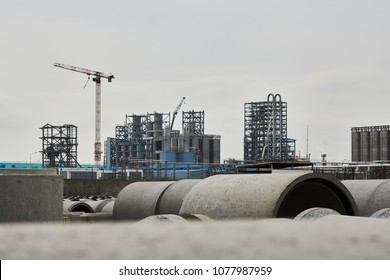 Concrete pipeline factory warehouse. Industry manufacturing concept
