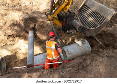 Concrete pipeline for a sewage and waste water system.
