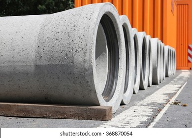 concrete pipes at construction site