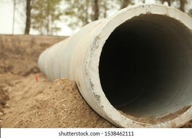concrete pipes seweral infrastructure construction pipeline trench