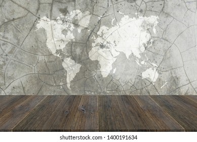 Concrete plaster cement polishing loft style wall or floor texture abstract texture surface background use for background with wood table or terrace and world map