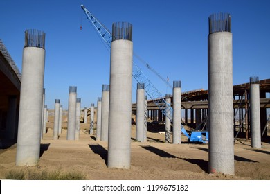 Concrete poles that will support the new bridge in Kern County. Construction progress of the new Centennial Corridor, Bakersfield, CA, October 1, 2018.