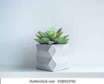 Concrete pot minimal style. Green succulent plant in modern geometric concrete planter on wooden white shelf isolated on white background.
