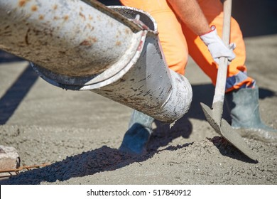 Concrete pouring during commercial concreting floors of building