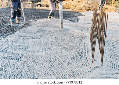 Concrete pouring during commercial concreting floors of buildings in construction site - concrete slab