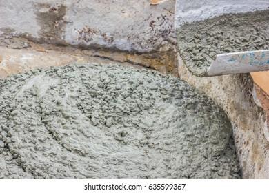 Concrete pouring  ,texture of ready mixed concrete cement mortar.