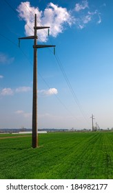 Concrete power line in the field of organic food
