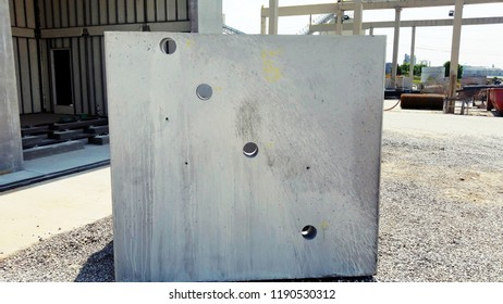 Concrete Precast Wall formed upright for test concrete mix design Precast Concrete Vertical Slab Fabricated for Drilling Cores for Materials Testing and Concrete Mix Design and Air Voids Analysis