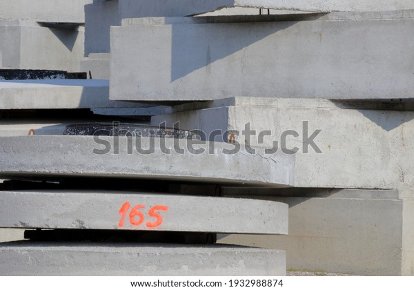 Concrete products in an open warehouse