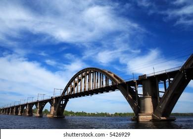 concrete railroad bridge with arches