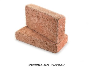 Concrete red brick for house or garden on the white