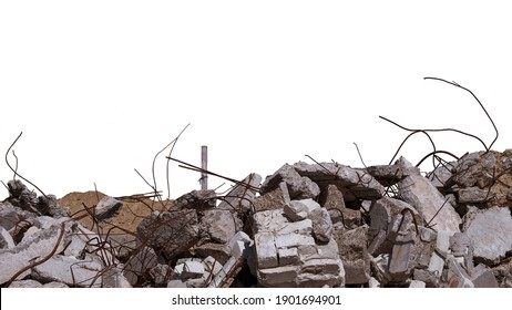 Concrete remains of a ruined building with exposed rebar, isolated on a white background. Background.