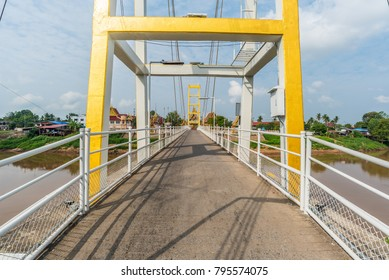 Concrete Road Bridge Across Nan River In Pichit Province, Thailand