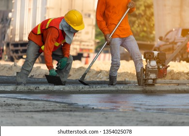 Concrete road construction workers, Construction worker team,Worker