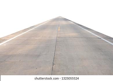 Concrete road on white background.