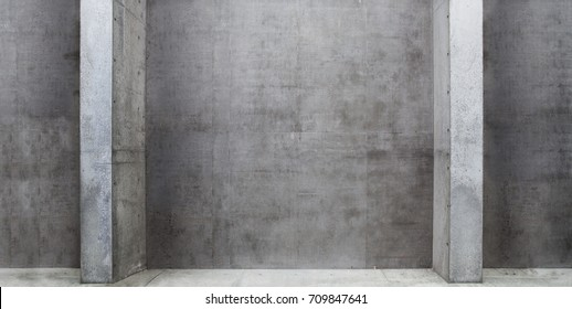 Concrete room with columns or pillars, in wide header image format.