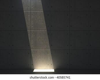 concrete room with light beam.