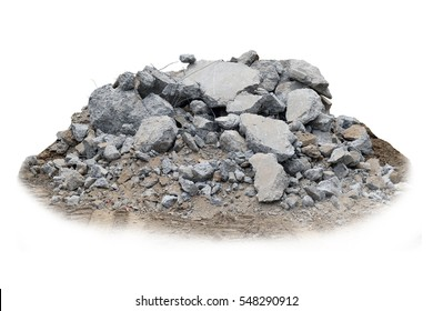 Concrete rubble isolated on white background.
