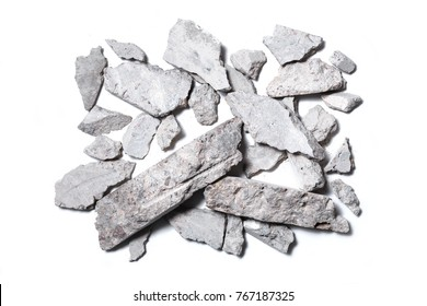 Concrete rubble isolated on white background. Top view.
