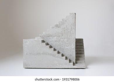 concrete sculpture staircase artwork architecture model casting modern art geometrical 3d three dimensional artwork cement stair going upward, architectural architecture model miniature surrealistic