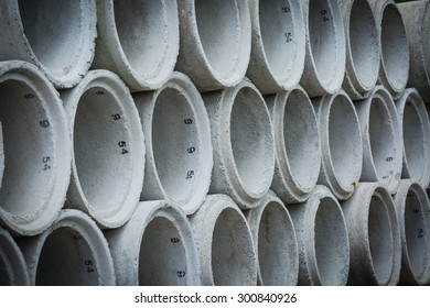 Concrete sewage pipes stack