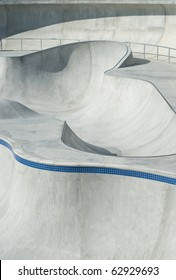 Concrete Skate and Bike Park with Tubes and Jumps