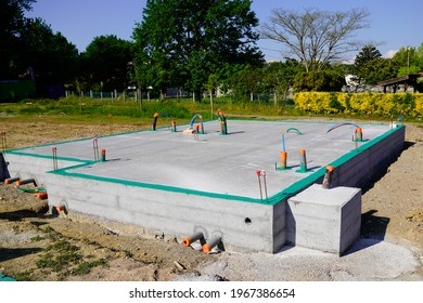 Concrete slab framework of residential house under construction
