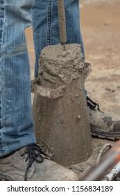 Concrete slump test before pouring a foundation