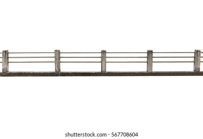 concrete and stainless steel fence construction isolated on white background.