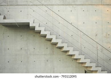 concrete stair on facade of building