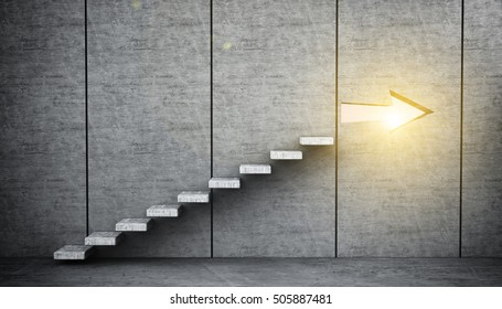 a concrete staircase with an arrow leading to success 3D rendering