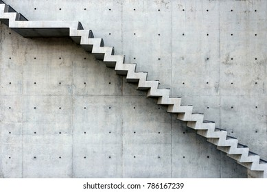 Concrete Staircase with concrete wall out of building - side view
