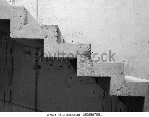 Concrete staircase with concrete wall, side view
