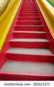 Concrete stairs painted red