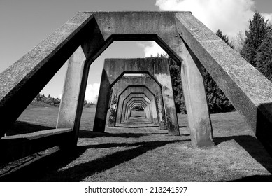 Concrete Structure in Gas Works Park in Seattle, Washington (Black and White)