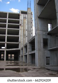 Concrete structures, rusted fittings, abandoned territory