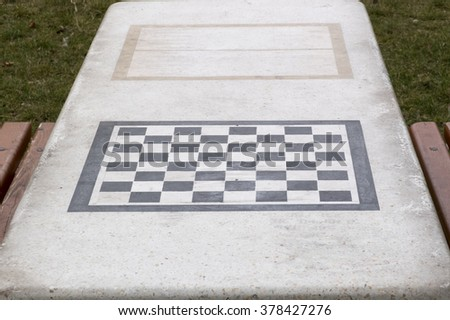 Concrete Table For Chess And Backgammon Games In Park, Burgas, Bulgaria.