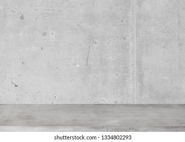 Concrete table and wall