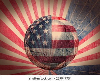 concrete textured wall and sphere textured by usa national flag