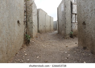 Concrete trench on Mount Bental Israeli military outpost on the border with Syria - disused bunker in the Golan Heights