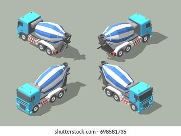 Concrete truck mixer isometric icon graphic illustration design. Infographic elements
