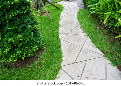 Concrete walk path in the garden close up.